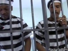 Time for some jailhouse cock... Naughty guard Dylan is delivering the mail to 2 black inmates, and moreover is enticed by them to taste their long bla