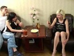 college students drunk Swingers party Foursome group