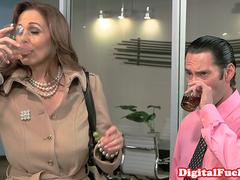 Bigtitted mature bosslady takes cum in mouth