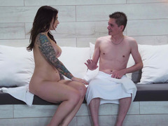 A tattooed gal that loves cock is getting fucked actual hard