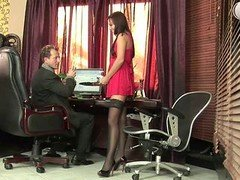 Russian secretary in fist have an intercourse action at office
