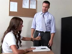 A slender woman with gigantic puffy nipples is licking her teacher