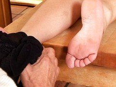 Aged guy and furthermore sweet chick's feet