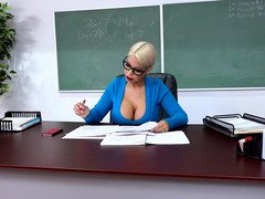 Point of view action with buxom professor that uses her tits to quench student