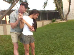 Golf coach gets down and dirty the petite Latina legal teen in the locker room