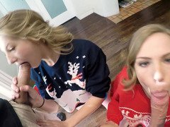A pair of blondes are having a splendid time with two fellas in a foursome