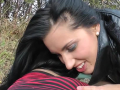 Russian doxy blows purple pole and rides it in the public park in autumn