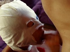 A blonde that has a mask on is getting anally pounded hard