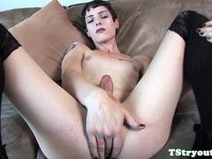 Mind-blowing casting trans rookie wanks single