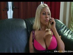 Sexy blonde  sizeable Titted Housewife Brigette B calls