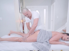 Sexy madame gets seduced and fucked by handy masseur after massage