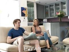 The most gorgeous babe with good pair of natural jugs is being banged by her excited strapping stepbrother