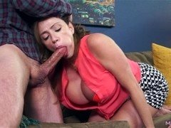 Huge titty MILF sucks off shady landlord to cover rent