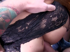 A blonde is on her back outdoors and she is getting her pussy rammed