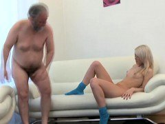 Enchanting young-looking honey gives passionate ride to an mature dude