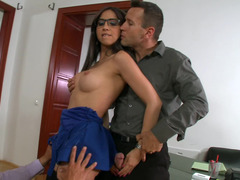 Two men are fucking a hot trainee in the office in a hot threesome