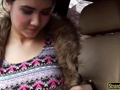 Pretty teenie Female D gives a blowjob and besides railed in the car