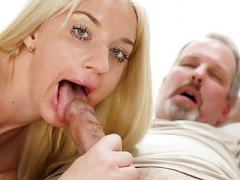 Aged fella cheats on his wife with a less aged blonde