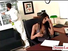 Donny Long gives attractive super hot sizeable tit secretary her 1st
