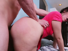 A woman with a big ass is getting a workout with a guy after gym