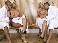 Big-breasted women get fucked in sauna