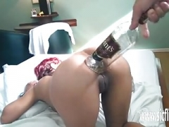 Extreme backdoor fisting and whiskey bottle fuck
