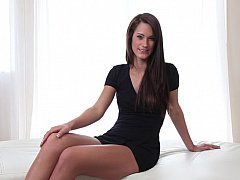 Appetizing domme poses elegantly for the cam