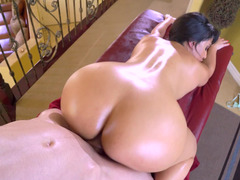 Curvy brown haired Latina porn goddess gets fucked by a young man