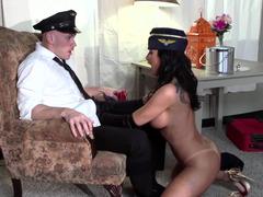 Horny flight attendant fucked hardcore by the big dick guy