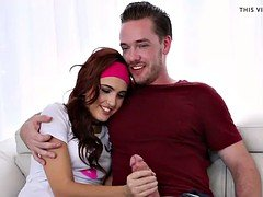 Amazing redhead babe Brooke Haze gets slammed by her stepbro