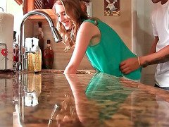 Cadence Lux holding onto kitchen counter while being fucked hard