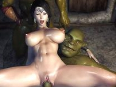 Sexy 3D WoW girl fucked by huge love pole orcs