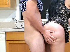 humungous bootie STEPMOM humps HER STEPSON IN THE KITCHEN AFTER SEEING HIS BIG BONER
