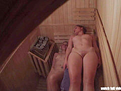 voyeur 2 cock-squeezing Pussies in Sauna