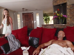 Cock starved slut sucks & fucks sleeping roommate's brother