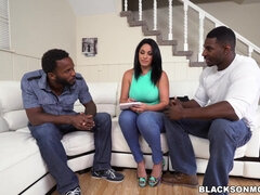 Big ass brunette whore takes two BBC in interracial threesome hardcore