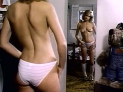 Slim Vintage Pornstar Watches On Her Tits In Mirror
