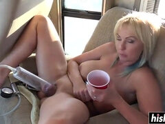 Two freaky blonde milfs takes a cumshot in amateur sex video.