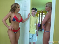 Three fantastic American moms sharing young Spanish boy