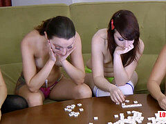 """4 splendid gals unclothing """"Play a Create a Word"""" Game, Losers Masturbate"""
