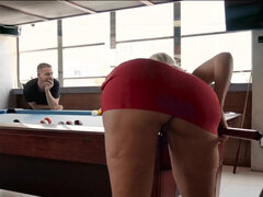 Tall blonde bombshell Alena Croft deepthoats hard cock before bending over for doggy