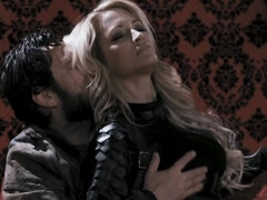 Bearded man seduced by imperious and smoking-hot blonde