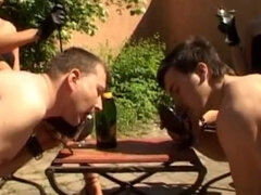 Sissy male slaves ballbusted beaten & forced to kiss each other