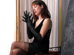 Posh british brunette Soccer mom teases in nylons leather gloves