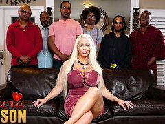 Alura Jenson gangbanged by six black cocks at once