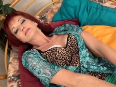 Slutty mature Irena playing with herself