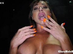 GloryHole with Big Titted Mom Aubrey Black sucking many big cocks for cum