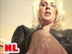 blondie in Leather Catsuit masturbate Her Husband on bed