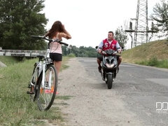 Riding The Biker: Helper In Need Fucks Babe At Home