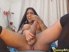Tattooed Shemale Whore Gets So Wild on Show
